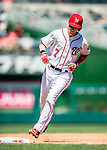 28 August 2016: Washington Nationals outfielder Trea Turner rounds the bases after hitting a solo home run in the 1st inning against the Colorado Rockies at Nationals Park in Washington, DC. The Rockies defeated the Nationals 5-3 to take the rubber match of their 3-game series. Mandatory Credit: Ed Wolfstein Photo *** RAW (NEF) Image File Available ***