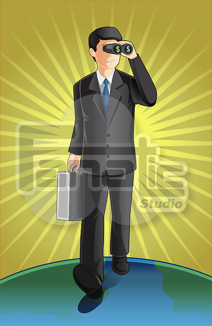 Illustrative image of businessman with briefcase looking through binoculars representing market analysis