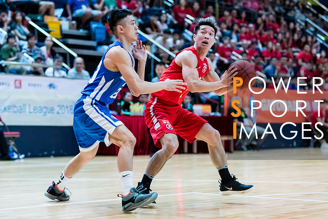 Lo Yi Ting #5 of SCAA Men's Basketball Team handles the ball against the Eastern Long Lions during the Hong Kong Basketball League playoff game between SCAA and Eastern Long Lions at Queen Elizabeth Stadium on July 27, 2018 in Hong Kong. Photo by Yu Chun Christopher Wong / Power Sport Images