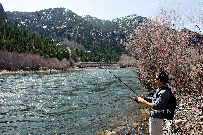 A young fisherman fishing for Steelehad on the Salmon River in Idaho