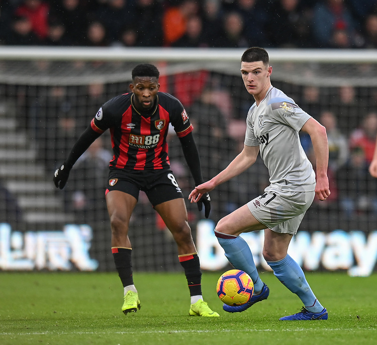 West Ham United's Declan Rice (right) <br /> <br /> Photographer David Horton/CameraSport<br /> <br /> The Premier League - Bournemouth v West Ham United - Saturday 19 January 2019 - Vitality Stadium - Bournemouth<br /> <br /> World Copyright &copy; 2019 CameraSport. All rights reserved. 43 Linden Ave. Countesthorpe. Leicester. England. LE8 5PG - Tel: +44 (0) 116 277 4147 - admin@camerasport.com - www.camerasport.com