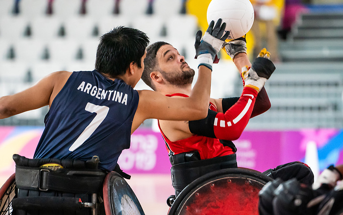 Lima, Peru -  23/August/2019 -Benjamin Perkins (#20) in action as Canada takes on Argentina in wheelchair rugby at the Parapan Am Games in Lima, Peru. Photo: Dave Holland/Canadian Paralympic Committee.