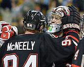 Tyler McNeely (Northeastern - 94), Clay Witt (Northeastern - 31) - The Boston College Eagles defeated the Northeastern University Huskies 5-4 in their Hockey East Semi-Final on Friday, March 18, 2011, at TD Garden in Boston, Massachusetts.