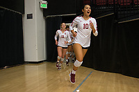 STANFORD, CA - October 12, 2018: Payton Chang, Kate Formico at Maples Pavilion. No. 2 Stanford Cardinal swept No. 21 Washington State Cougars, 25-15, 30-28, 25-12.