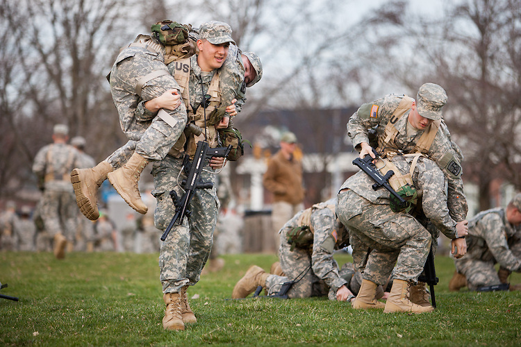 The Ohio University ROTC program prepare for their weekend combat exercise by practicing and extraction of an injured soldier.  Photo by Ohio University / Jonathan Adams