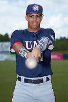 Hagerstown Suns third baseman Luis Garcia (7) poses for a photo prior to the game against the Kannapolis Intimidators at Kannapolis Intimidators Stadium on May 6, 2018 in Kannapolis, North Carolina.  The Intimidators defeated the Suns 4-3. (Brian Westerholt/Four Seam Images)