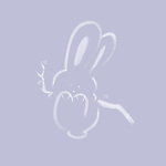 Cute happy bunny rabbit swinging on a branch, artistic illustration based on an original sumi-e painting artwork, minimalistic design white bunny isolated on light violet background