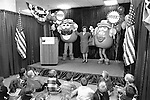 The League of Women Voter's holds a press conference with Mr. and Mrs. Potato Head.