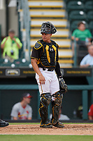 Bradenton Marauders catcher Deon Stafford (37) during a Florida State League game against the Palm Beach Cardinals on May 10, 2019 at LECOM Park in Bradenton, Florida.  Bradenton defeated Palm Beach 5-1.  (Mike Janes/Four Seam Images)