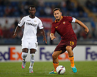 Roma&rsquo;s Francesco Totti, right, is challenged by Astra Giurgiu&rsquo;s Boubacar Mansaly the Europa League Group E soccer match between Roma and Astra Giurgiu at Rome's Olympic stadium, 29 September 2016. Roma won 4-0.<br /> UPDATE IMAGES PRESS/Isabella Bonotto