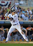 29 September 2012: Minnesota Twins infielder Jamey Carroll at bat against the Detroit Tigers at Target Field in Minneapolis, MN. The Tigers defeated the Twins 6-4 in the second game of their 3-game series. Mandatory Credit: Ed Wolfstein Photo