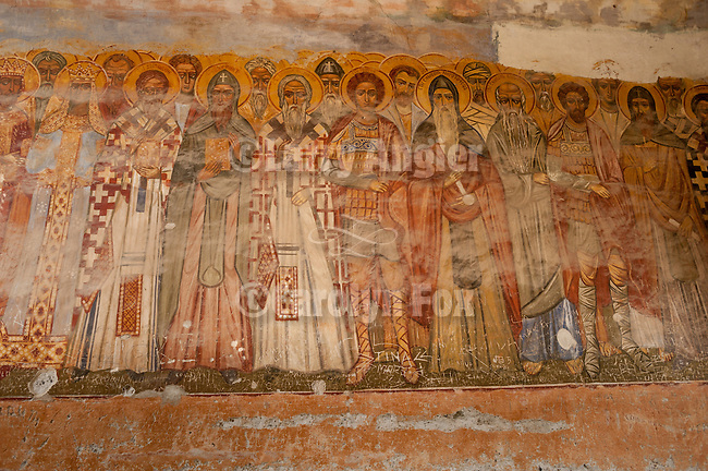 Frescoes painted of saints and the worthy in the ceiling of the gate at Zica Monastery, The Red monastery, near Kraljevo, Serbia...The monastery was founded by King Stefan Prvovencani, the First-Crowned, and built in the early 13th century and received St. Sava as the first Patriarch of the Serbian Orthodox Church in 1219. The monastery was burned in a raid near the end of the 13th century and was subsequently deserted. Multiple renovations were carried out during the late 13th and early 14th centuries. The most complete renovations were completed during the rein of King Milutin (1282-1321)..Nikolai Velimirovic was consecrated Bishop of Zica in 1919. Zica suffered damage during World War II which Bishop Nikolai was unable to restore, because of his arrest there in 1941. After the war Zica became a woman's monastery. Zica celebrated its 800th anniversary in 2005.