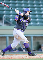 First baseman Jacob Hoyle (27) of the Western Carolina Catamounts in a game against the Cincinnati Bearcats on Sunday, February 24, 2013, at Fluor Field in Greenville, South Carolina. Cincinnati won in 10 innings, 7-6. (Tom Priddy/Four Seam Images)