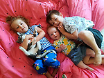 Pictured:  Miles Povey (right) with Rocky the cat and his younger sisters Willow, 3, and 9-month-old Tilly.<br /> <br /> Little Miles Povey and his new kitten are so inseparable that when he started school for the first time his pet came too.  The five-year-old walks to and from school every day accompanied by five month old Rocky.<br /> <br /> The grey and white quarter Persian kitten even joins him in classes and has become a firm favourite with Miles' school pals.  Miles joined reception at Oakwood Primary School in Southampton, Hants, last month.  SEE OUR COPY FOR DETAILS.<br /> <br /> © Solent News & Photo Agency<br /> UK +44 (0) 2380 458800