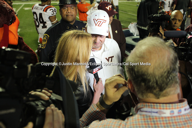 December 26, 2015: Virginia Tech head football coach Frank Beamer being interviewed by ESPN after winning the Camping World Independence Bowl at Independence Stadium in Shreveport, LA. Justin Manning/ESW/CSM