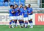 2018-08-11 / voetbal / seizoen 2018 - 2019 / Crocky Cup / ASV Geel - Tilleur / Amar Merabai (M) (Geel) heeft de 1-0 gemaakt en viert het met zijn ploegmaats