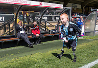Accrington Stanley Manager John Coleman applauds a young disabled Wycombe Wanderers mascot going through his routine before the Sky Bet League 2 match between Wycombe Wanderers and Accrington Stanley at Adams Park, High Wycombe, England on the 30th April 2016. Photo by Liam McAvoy / PRiME Media Images.