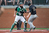Jonathan Pryor (11) of the Wake Forest Demon Deacons is tagged out at home plate by Charlotte 49ers catcher Derek Fritz (26) at Hayes Stadium on March 16, 2016 in Charlotte, North Carolina.  The 49ers defeated the Demon Deacons 7-6.  (Brian Westerholt/Four Seam Images)