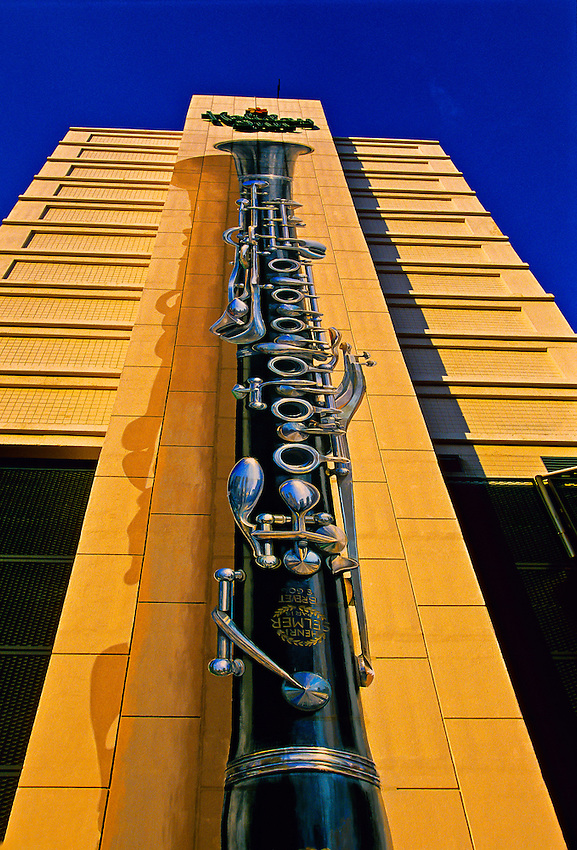 Clarinet painted on side of Holiday Inn Downtown Superdome, New Orleans, Louisiana USA