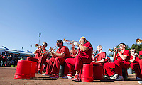 Members of the Leland Stanford marching band perform at Fan Fest before Saturday's, November 23, 2013, Big Game at Stanford University.
