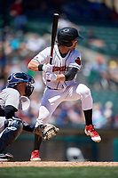 Rochester Red Wings Drew Maggi (5) bats during an International League game against the Scranton/Wilkes-Barre RailRiders on June 25, 2019 at Frontier Field in Rochester, New York.  Rochester defeated Scranton 10-9.  (Mike Janes/Four Seam Images)