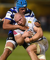 Matt Kvesic of Exeter Chiefs is tackled by Zach Mercer of Bath Rugby. Gallagher Premiership match, between Bath Rugby and Exeter Chiefs on October 5, 2018 at the Recreation Ground in Bath, England. Photo by: Patrick Khachfe / Onside Images