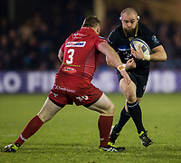 Bath Rugby's Tom Dunn in action during todays match<br /> <br /> Photographer Bob Bradford/CameraSport<br /> <br /> European Champions Cup Round 5 - Bath Rugby v Scarlets - Friday 12th January 2018 - The Recreation Ground - Bath<br /> <br /> World Copyright &copy; 2018 CameraSport. All rights reserved. 43 Linden Ave. Countesthorpe. Leicester. England. LE8 5PG - Tel: +44 (0) 116 277 4147 - admin@camerasport.com - www.camerasport.com