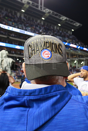 02.11.2016. Cleveland, OH, USA.  Chicago Cubs manager Joe Maddon (70) celebrates after winning game 7 of the 2016 World Series against the Chicago Cubs and the Cleveland Indians at Progressive Field in Cleveland, OH. Chicago defeated Cleveland 8-7 in 10 innings.
