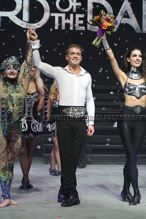 James Keegan and the cast onstage during the curtain call for the Broadway Opening and dedut of 'Lord of the Dance: Dangerous Games' at The Lyric Theatre on November 10, 2015 in New York City.
