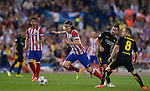 Vicente calderon Stadium. Madrid. Spain. 09/04/2014. Match between Barcelona and Atletico Madrid, Champions League. The image shows: Filipe Luiz and Andres Iniesta