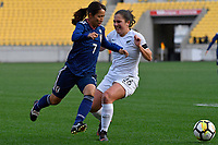 Japan&rsquo;s Emi Nakajima and Ferns&rsquo; Sarah Morton in action during the  International Football - Football Ferns v Japan  at Westpac Stadium, Wellington, New Zealand on Sunday 10 June 2018.<br /> Photo by Masanori Udagawa. <br /> www.photowellington.photoshelter.com
