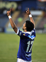 PASTO- COLOMBIA -24-03-2013: Fredy Montero, delantero de Millonarios celebra el gol anotado al Deportivo Pasto , durante  partido por la Liga de Postobon I en el estadio La Libertad en la ciudad de Cali, marzo24 de 2013. (Foto: VizzorImage / Luis Ramírez / Staff). Fredy Montero, forward of Millonarios celebrate a goal scored against Deportivo Pasto, during a match for the Postobon I League at La Libertad stadium in Pasto city, on March 24, 2013, (Photo: VizzorImage / Luis Ramirez / Staff.)