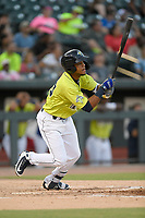 Designated hitter Wagner Lagrange (23) of the Columbia Fireflies bats in a game against the Augusta GreenJackets on Friday, May 31, 2019, at Segra Park in Columbia, South Carolina. Augusta won, 8-6. (Tom Priddy/Four Seam Images)