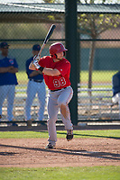 Los Angeles Angels third baseman Matt McCann (98) during a Minor League Spring Training game against the Chicago Cubs at Sloan Park on March 20, 2018 in Mesa, Arizona. (Zachary Lucy/Four Seam Images)