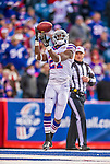 19 October 2014: Buffalo Bills cornerback Leodis McKelvin pulls in a kickoff and concedes a touchback in the fourth quarter against the Minnesota Vikings at Ralph Wilson Stadium in Orchard Park, NY. The Bills defeated the Vikings 17-16 in a dramatic, last minute, comeback touchdown drive. Mandatory Credit: Ed Wolfstein Photo *** RAW (NEF) Image File Available ***