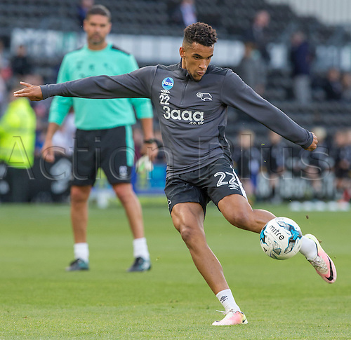 09.08.2016. iPro Stadium, Derby, England. Football League Cup 1st Round. Derby versus Grimsby Town. Derby County striker Nick Blackman  warming up before the match.