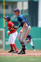 GCL Rays first baseman Russ Olive (24) stands next to Juan Hernandez (3) during a game against the GCL Red Sox on August 1, 2018 at JetBlue Park in Fort Myers, Florida.  GCL Red Sox defeated GCL Rays 5-1 in a rain shortened game.  (Mike Janes/Four Seam Images)