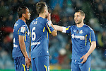 Getafe's Wanderson, Juan Cala and Mehdi Lacen during La Liga match. March 18,2016. (ALTERPHOTOS/Acero)