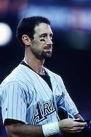 Luis Gonzalez of the Arizona Diamondbacks between innings of a 1999 Major League Baseball season game against the Anaheim Angels at Angel Stadium in Anaheim, California. (Larry Goren/Four Seam Images)