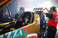 May 19, 2017; Topeka, KS, USA; Crew members for NHRA top fuel driver Leah Pritchett during qualifying for the Heartland Nationals at Heartland Park Topeka. Mandatory Credit: Mark J. Rebilas-USA TODAY Sports