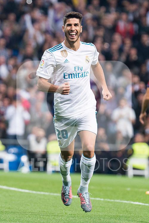 Real Madrid Marco Asensio celebrating a goal during La Liga match between Real Madrid and Eibar at Santiago Bernabeu Stadium in Madrid, Spain. October 22, 2017. (ALTERPHOTOS/Borja B.Hojas)