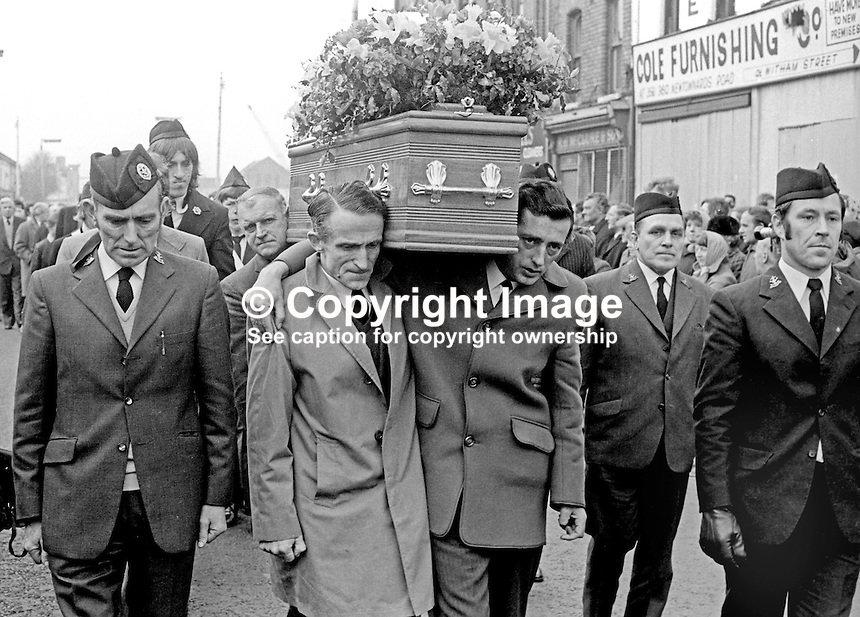 Funeral, 8th March 1974, of Glentoran FC footballer, Roy Stewart, who died a few hours after playing in the first leg of Glentoran's quarter final match against the German side, Borussia Moenchengladbach, in the European Cup Winners Cup. Active in the Boys' Brigade organisation Roy Stewart's coffin is flanked by its officers and members. 197403080149<br /> <br /> Copyright Image from Victor Patterson, 54 Dorchester Park, Belfast, UK, BT9 6RJ<br /> <br /> Tel: +44 28 9066 1296<br /> Mob: +44 7802 353836<br /> Voicemail +44 20 8816 7153<br /> Email: victorpatterson@me.com<br /> Email: victorpatterson@gmail.com<br /> <br /> IMPORTANT: My Terms and Conditions of Business are at www.victorpatterson.com