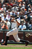 SAN FRANCISCO, CA - JULY 28:  Ryan Theriot #5 of the San Francisco Giants bats against the Los Angeles Dodgers during the game at AT&T Park on Saturday, July 28, 2012 in San Francisco, California. Photo by Brad Mangin