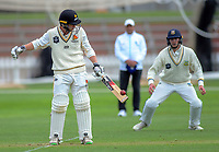 Wellington's Fraser Colson bats on day one of the Plunket Shield cricket match between the Wellington Firebirds and Otago Volts at Basin Reserve in Wellington, New Zealand on Monday, 21 October 2019. Photo: Dave Lintott / lintottphoto.co.nz