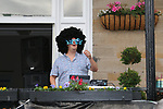 Local DJ pumping out the sounds during the Women Elite Road Race of the UCI World Championships 2019 running 149.4km from Bradford to Harrogate, England. 28th September 2019.<br /> Picture: Seamus Yore | Cyclefile<br /> <br /> All photos usage must carry mandatory copyright credit (© Cyclefile | Seamus Yore)