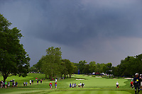 Michelle Wie (USA), Sandra Gal (DEU), and Stacy Lewis (USA)  head down number 10 moments before play was suspended due to weather during Friday's round 2 of the 2017 KPMG Women's PGA Championship, at Olympia Fields Country Club, Olympia Fields, Illinois. 6/30/2017.<br /> Picture: Golffile | Ken Murray<br /> <br /> <br /> All photo usage must carry mandatory copyright credit (&copy; Golffile | Ken Murray)