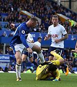 9th September 2017, Goodison Park, Liverpool, England; EPL Premier League Football, Everton versus Tottenham; Hugo Lloris, Tottenham goalkeeper gathers the ball from the onrushing Wayne Rooney of Everton