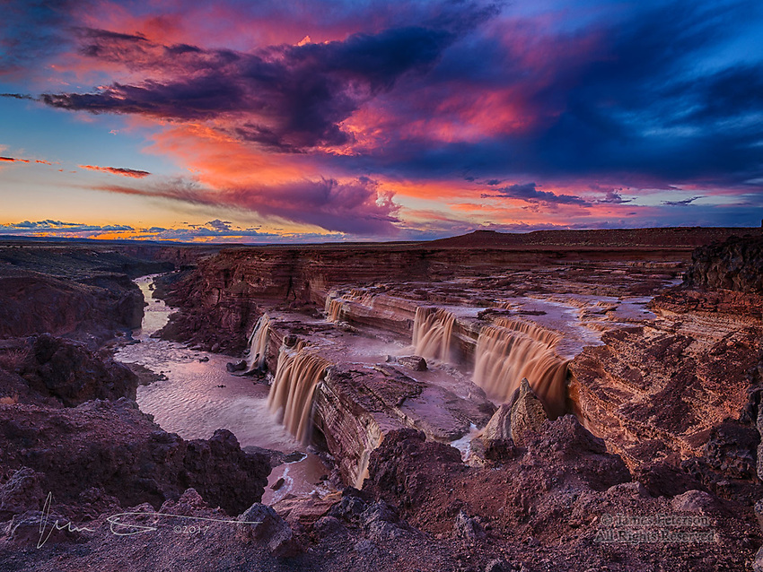 Twilight at Grand Falls, Arizona ©2017 James D Peterson.  This is the classic angle from which to photograph this unique Arizona waterfall on the LIttle Colorado River, and I was fortunate enough to be there when one of our world class sunsets was in progress.