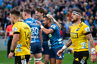 14th June 2020, Aukland, New Zealand;  Blues loose forward Dalton Papalii scores and Beauden Barrett celebrates during the Investec Super Rugby Aotearoa match, between the Blues and Hurricanes held at Eden Park, Auckland, New Zealand.