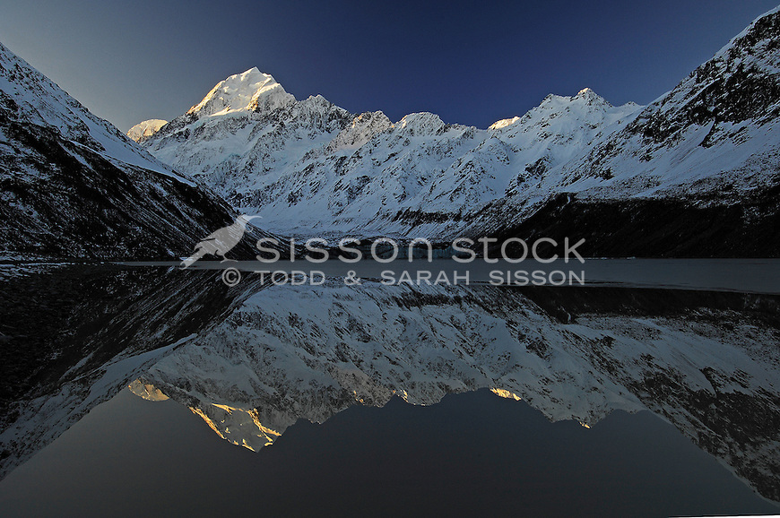 Last light on Mt Cook /Aoraki and a perfect reflection in Hooker Lake